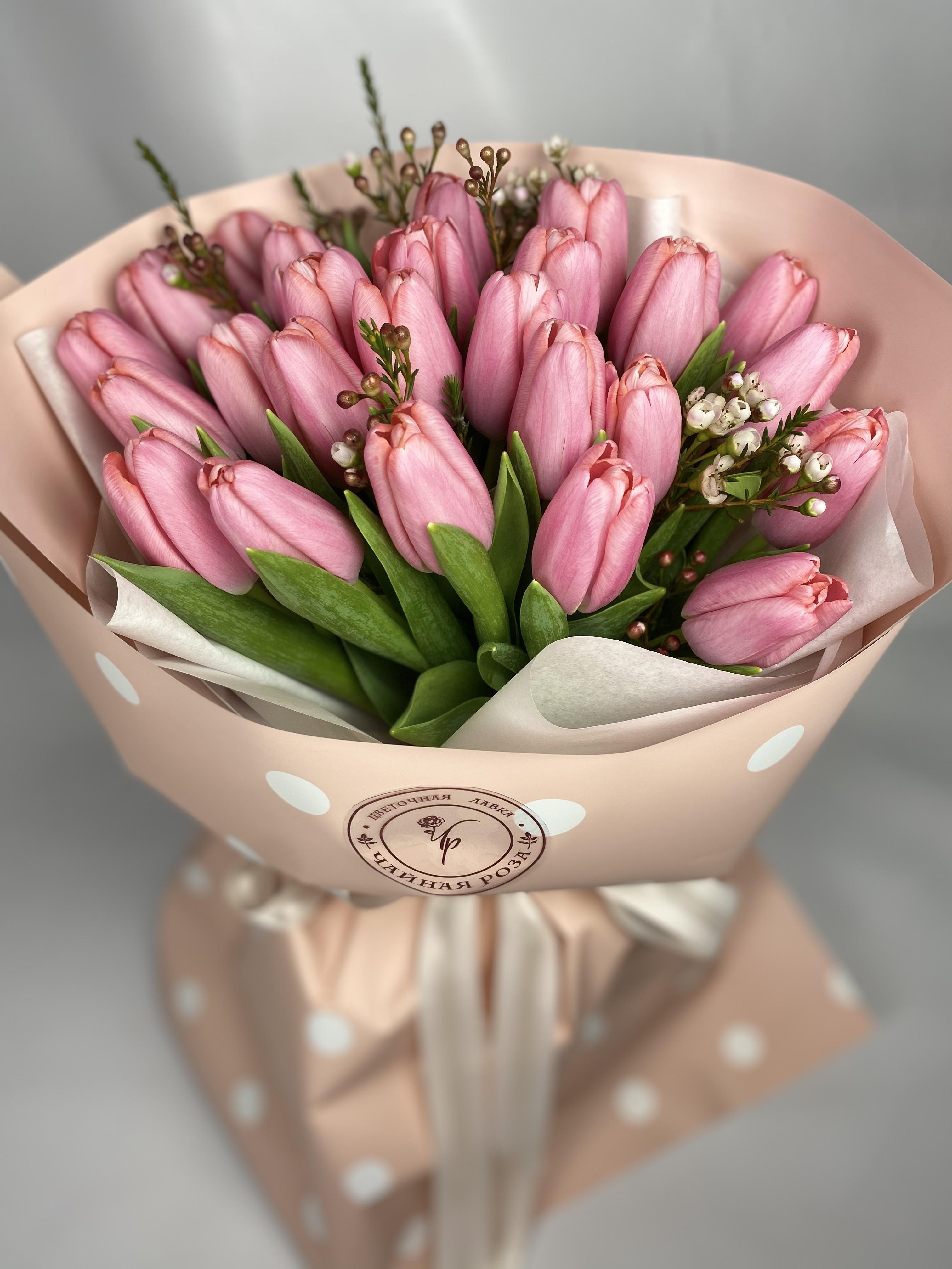 Купить Букет тюльпанов с хамелациумом арт:1001 с доставкой в Киеве Доставка 24/7 | Чайная роза